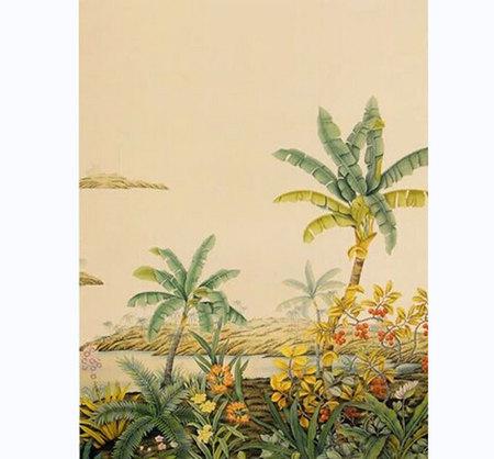 热带风景手绘丝绸墙纸风景壁纸